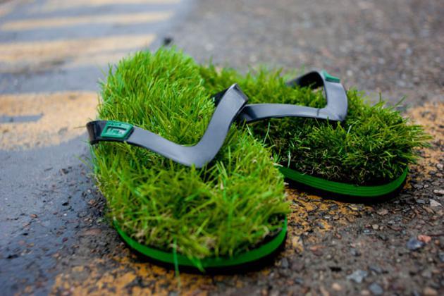 Kusa Green Grass Flip Flops for Beaches and Home