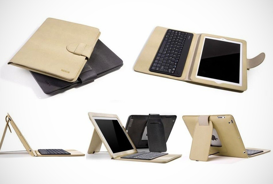 Rock iPad 3 Bluetooth Keyboard Leather Case