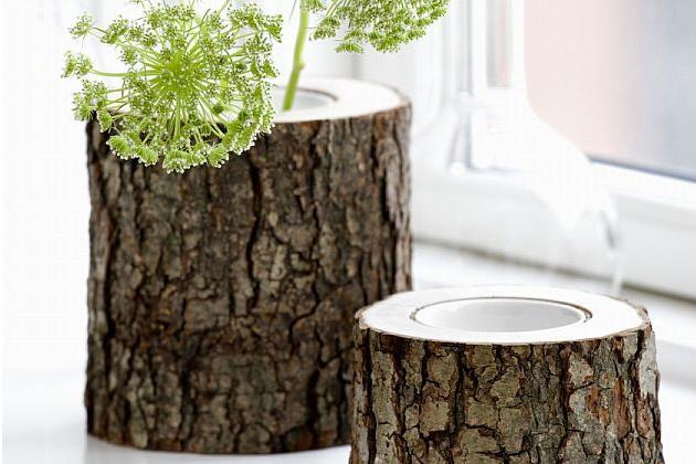 Rustic Wooden Vases - Stem