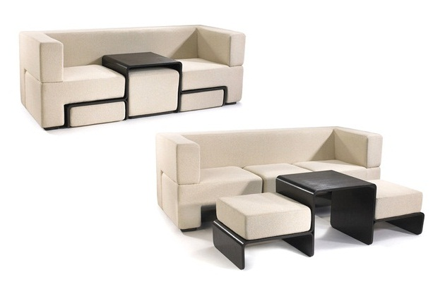 Slot Sofa with Coffee Table and Foot Rests