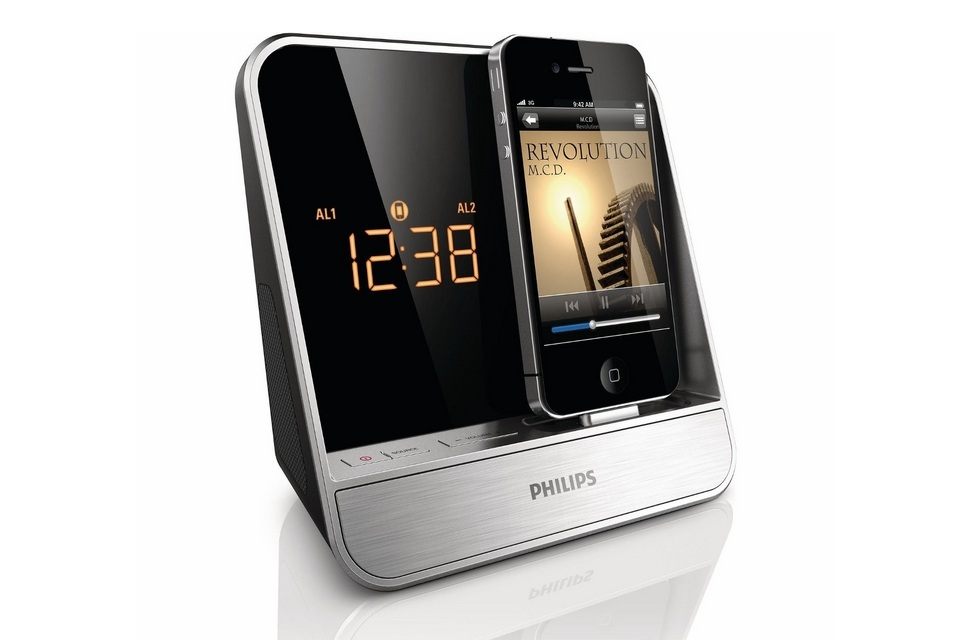 philips alarm clock radio for ipod iphone bonjourlife. Black Bedroom Furniture Sets. Home Design Ideas