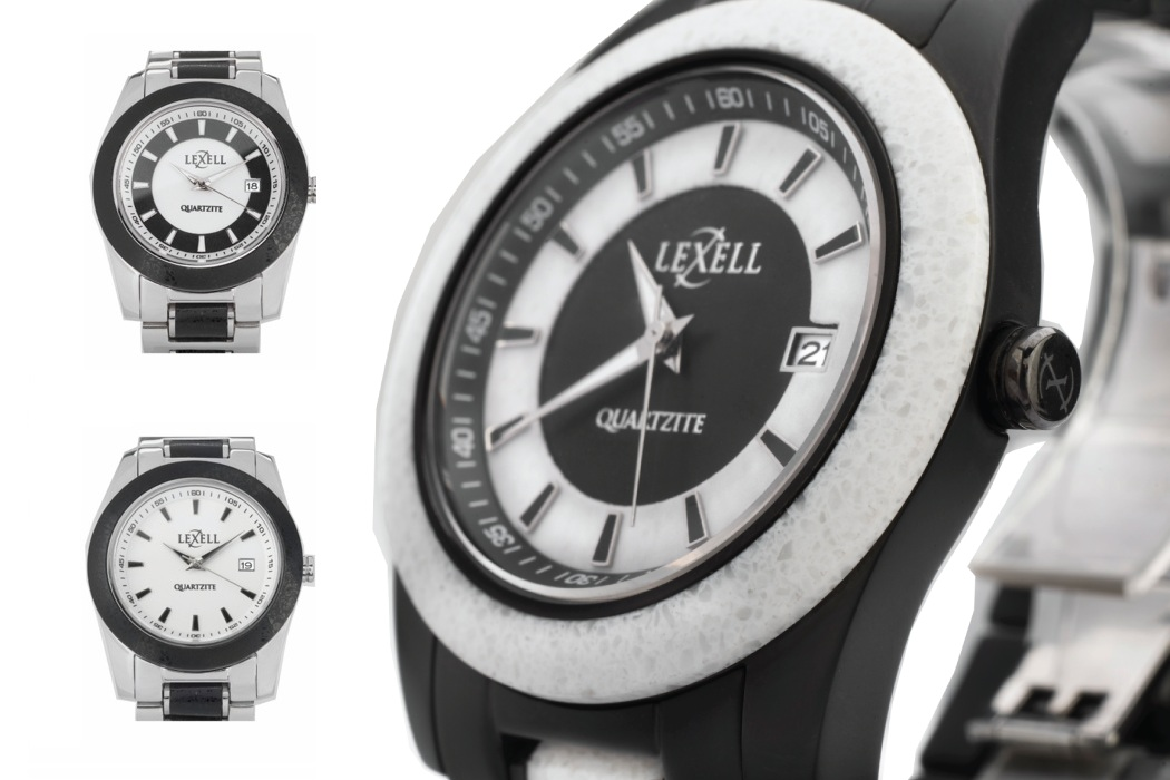 A Stone and Stainless Steel Watch By Lexell Stone Watches