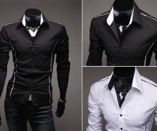 Men's Shirt with Vertical Seam Detail