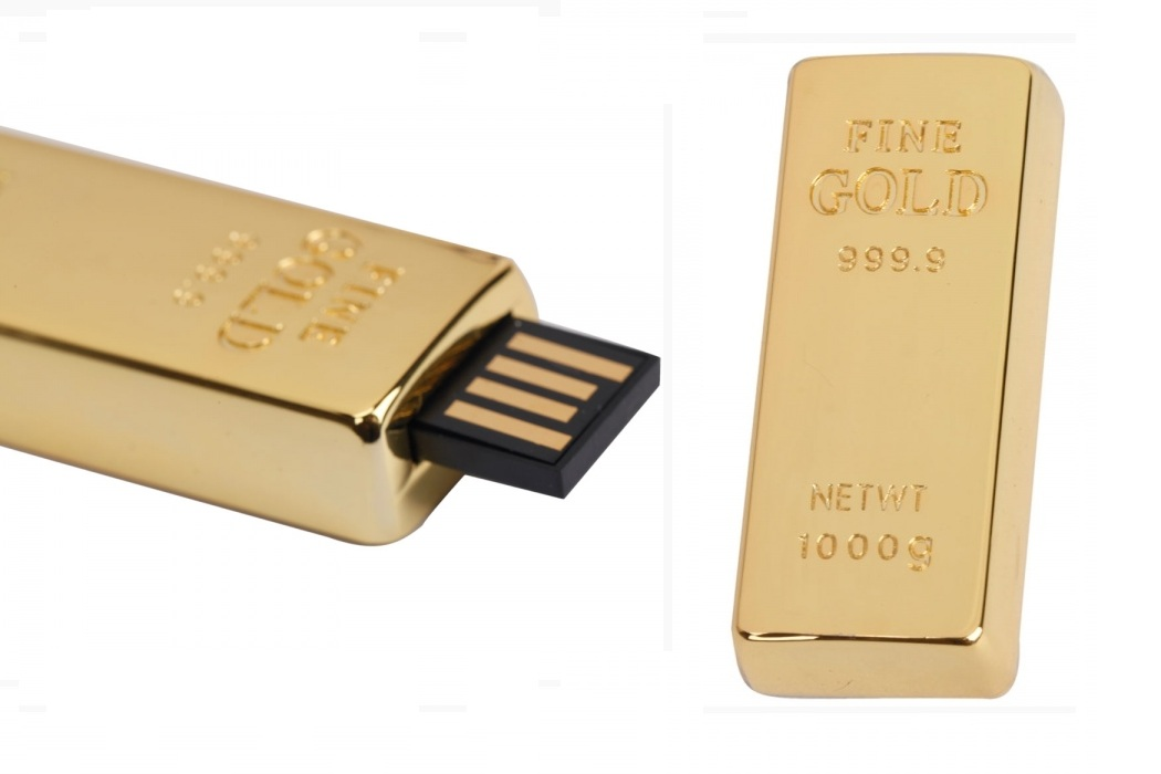 Gold Bar Design Retractable USB Drive (2)