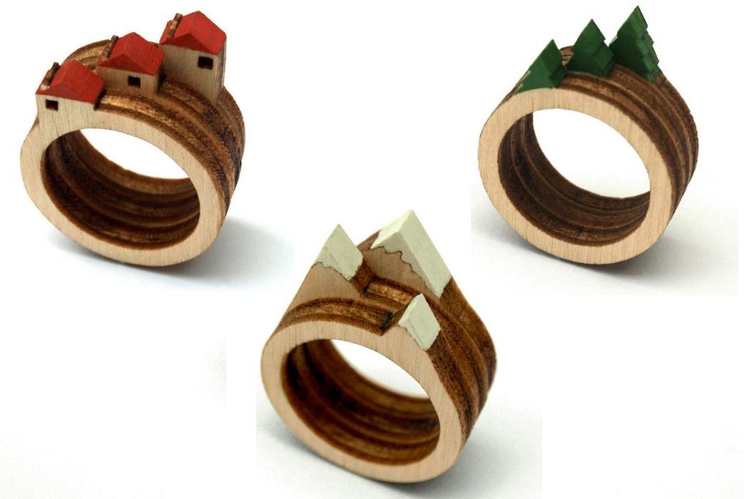 Laser Cut Wooden Landscape Ring (2)