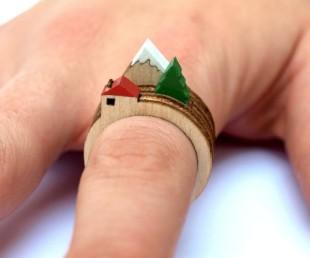 Laser Cut Wooden Landscape Ring (3)