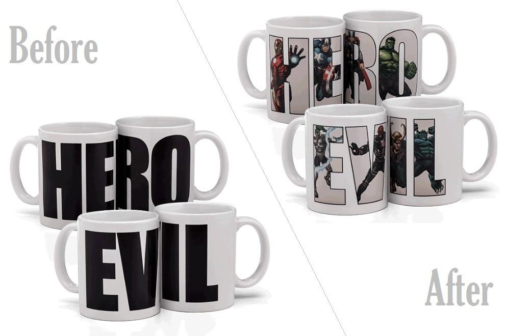 Marvel Hero vs. Evil Heat Change Mugs