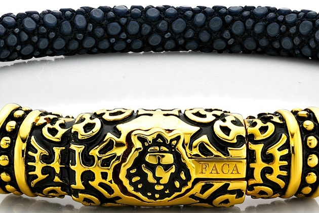 FACA 18k Gold Bracelet with Black Leather (2)
