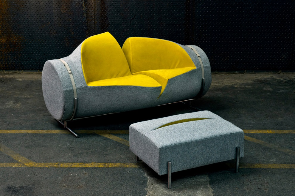 Slashed Sofa and Ottoman by Charlotte Kingsnorth