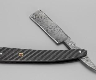 Bastion Damascus Steel Straight Razor with Carbon Fiber Handle (4)