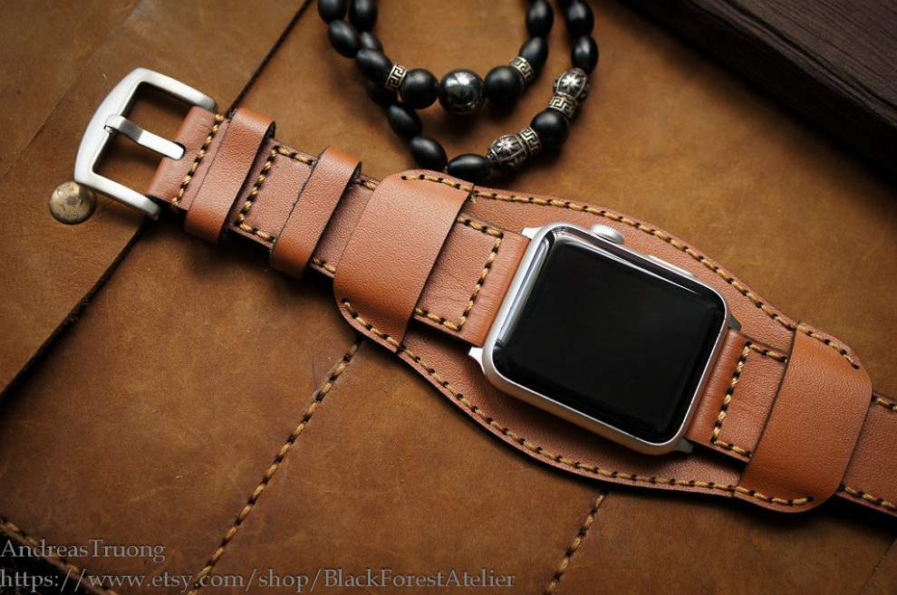 Handmade Leather Cuff Band For Apple Watch Bonjourlife