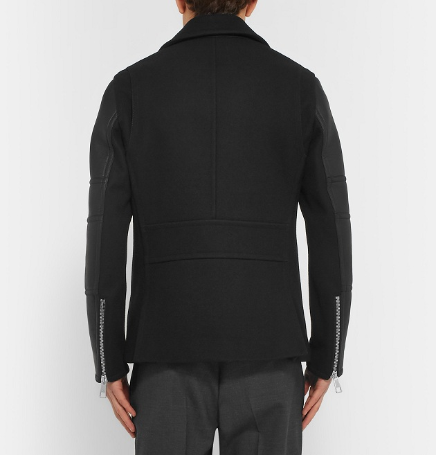 NEIL BARRETT Leather And Wool-Blend Jacket (2)
