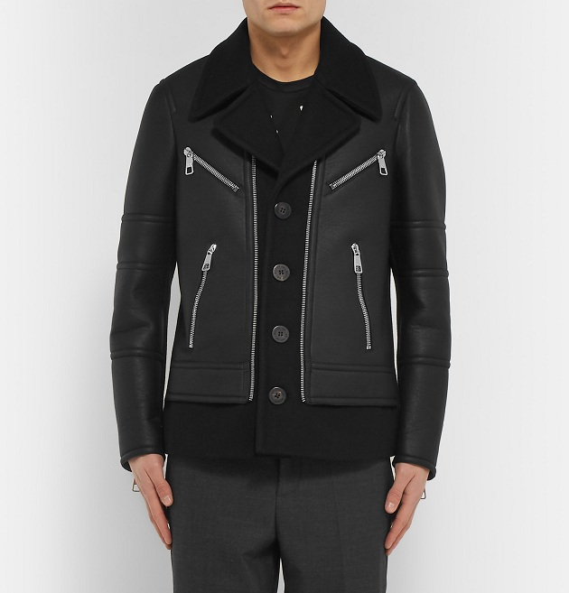 NEIL BARRETT Leather And Wool-Blend Jacket (5)