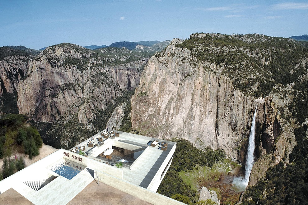 Luxury Cantilevered Restaurant Overhangs Mexico Copper Canyon (7)
