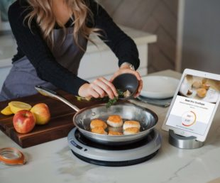 scallops cooking on hestan cue via connected tablet