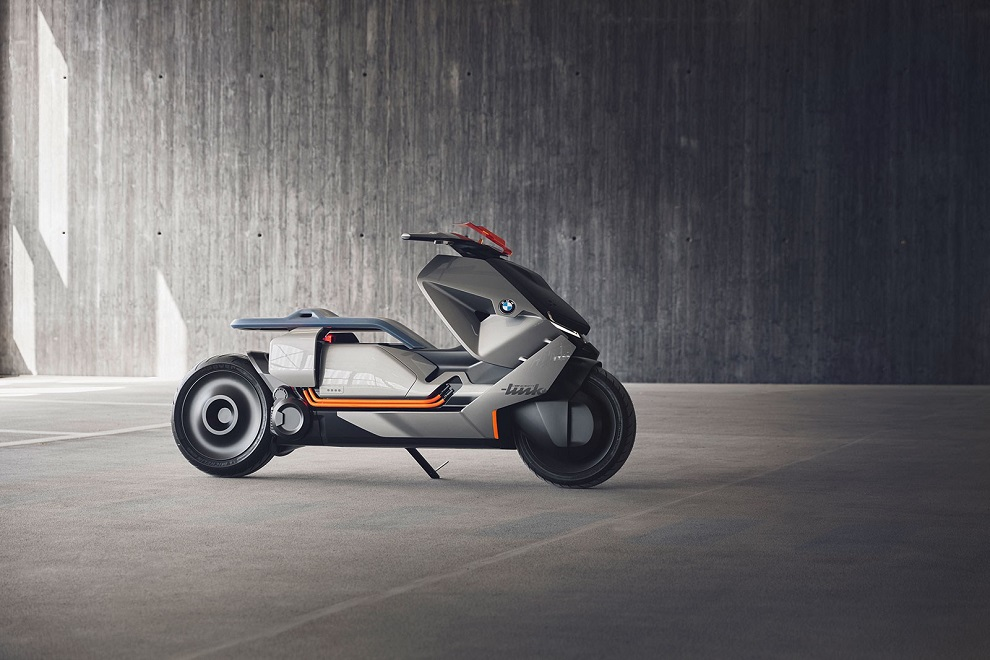 BMW futuristic concept of self-balancing electric two-wheeler parked