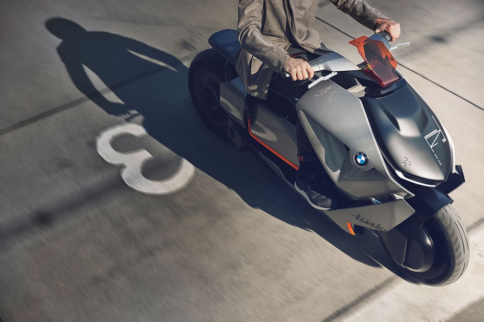 BMW futuristic concept of self-balancing electric two-wheeler link driving