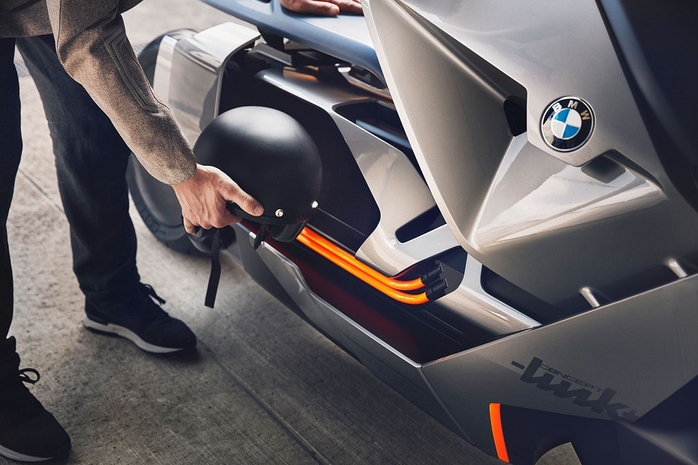 BMW futuristic concept of self-balancing electric two-wheeler link compartment for helmet