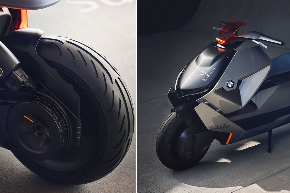 BMW futuristic concept of self-balancing electric two-wheeler link with back front wheel